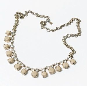 J. Crew Factory • Crystal & Beige Stone Necklace